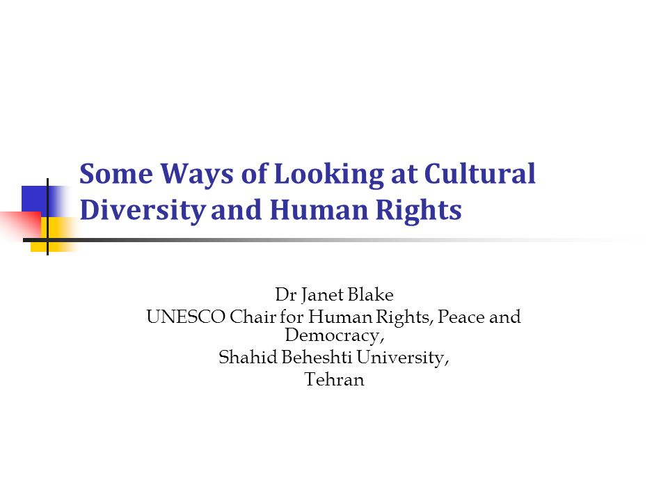 Some Ways of Looking at Cultural Diversity and Human Rights