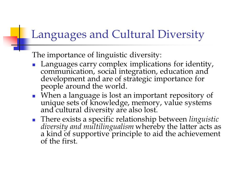 Languages and Cultural Diversity