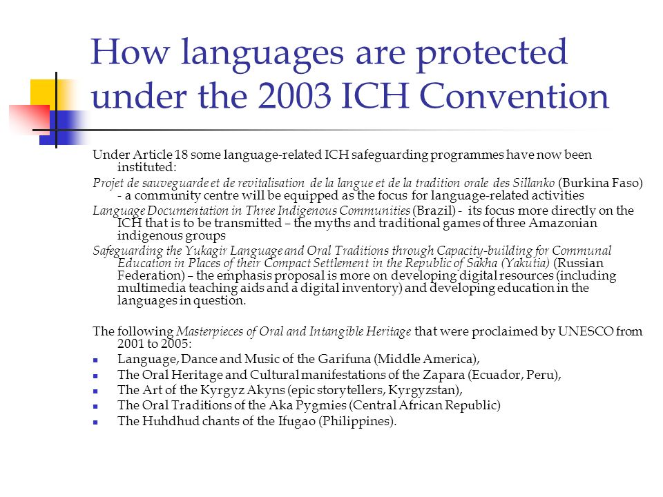 How languages are protected under the 2003 ICH Convention