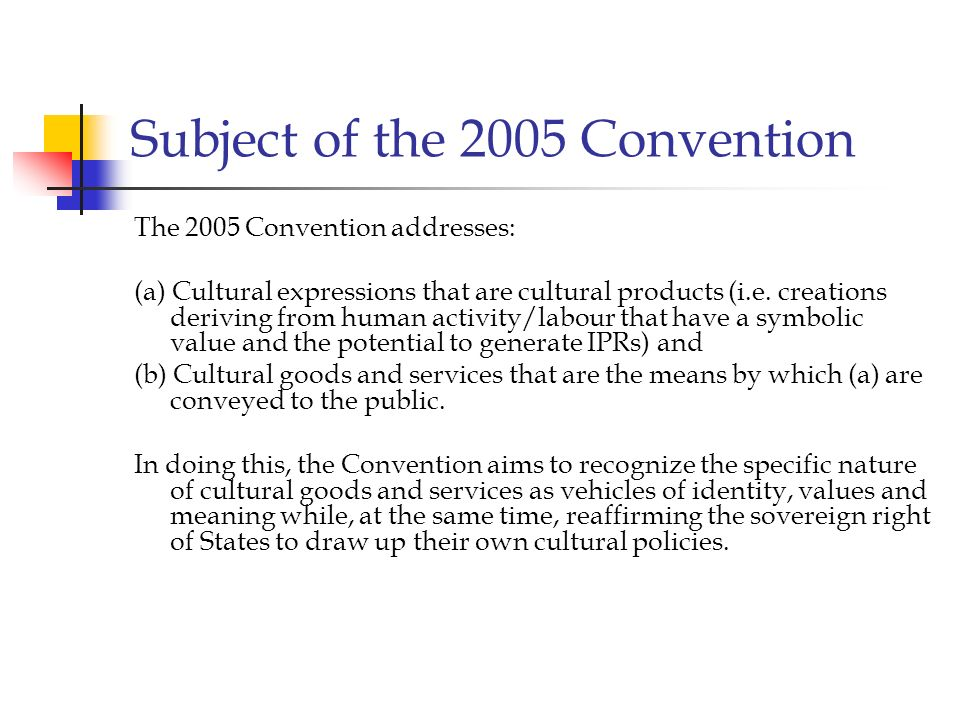Subject of the 2005 Convention