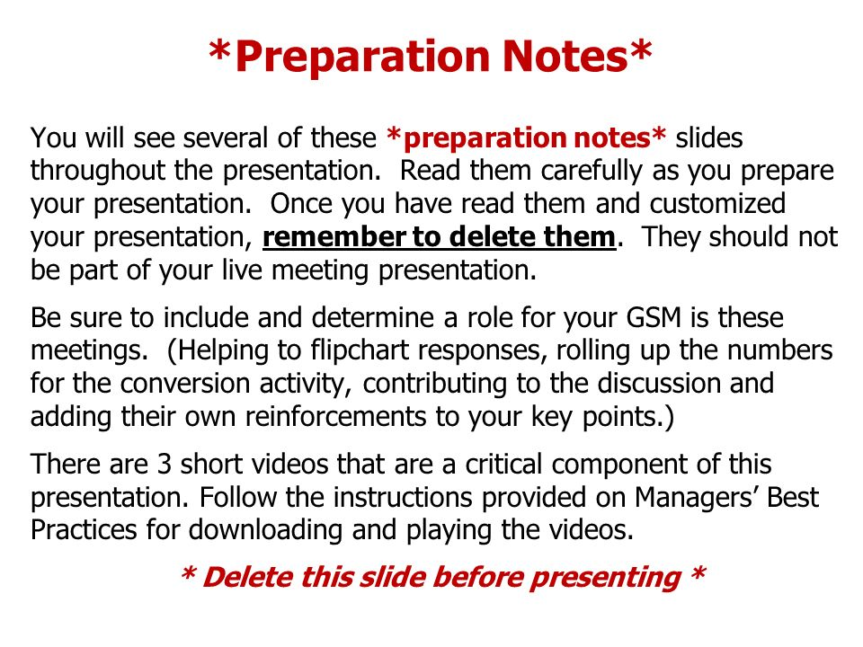 *Preparation Notes*