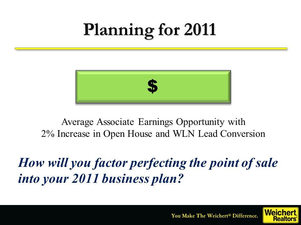 $ Planning for 2011 Average Associate Earnings Opportunity with