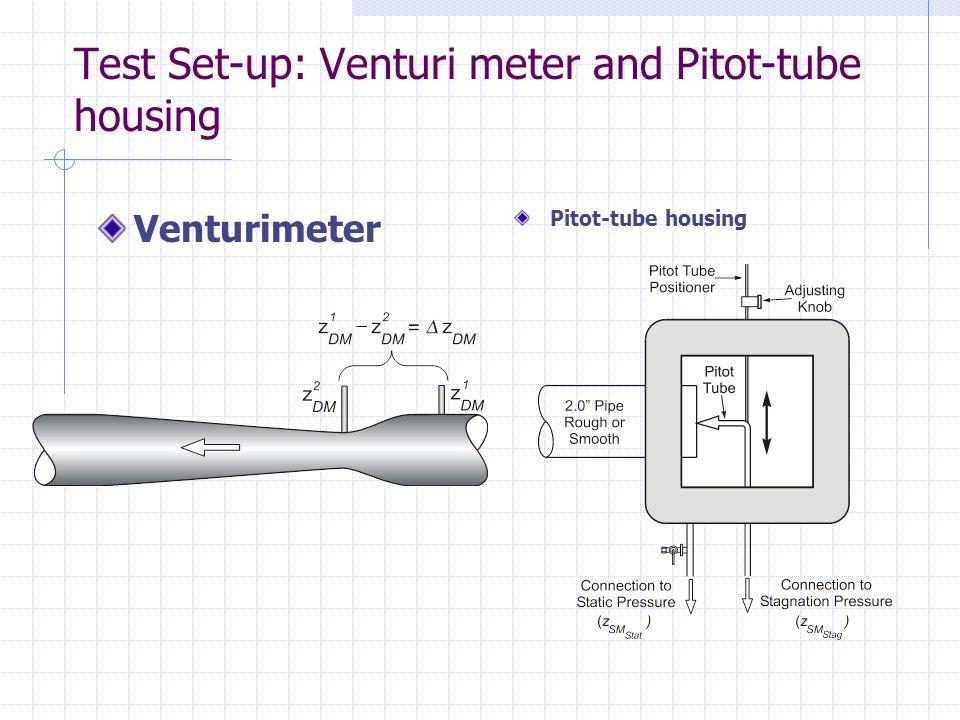 Test Set-up: Venturi meter and Pitot-tube housing