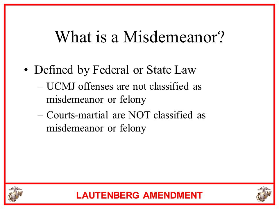 What is a Misdemeanor Defined by Federal or State Law