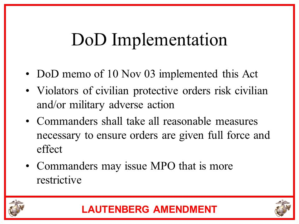 DoD Implementation DoD memo of 10 Nov 03 implemented this Act