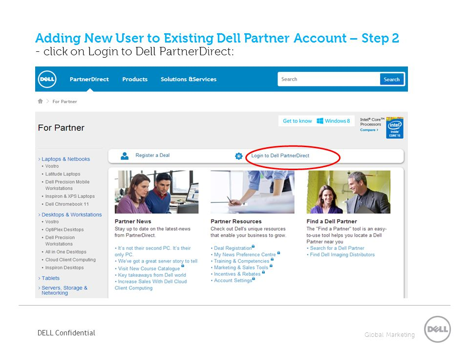 Adding New User to Existing Dell Partner Account – Step 2 - click on Login to Dell PartnerDirect: