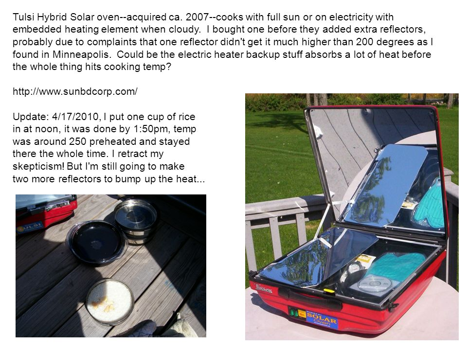 Tulsi Hybrid Solar oven--acquired ca