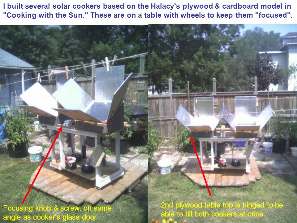 I built several solar cookers based on the Halacy s plywood & cardboard model in Cooking with the Sun. These are on a table with wheels to keep them focused .
