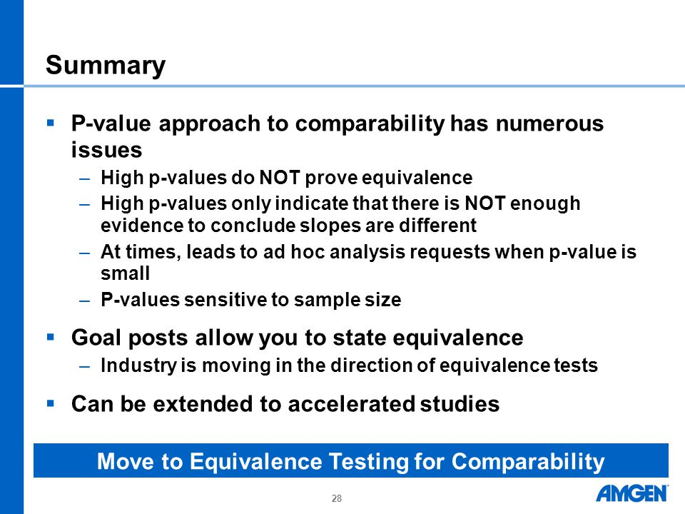 Move to Equivalence Testing for Comparability