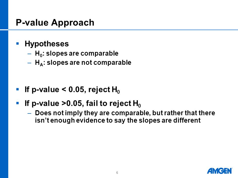 P-value Approach Hypotheses If p-value < 0.05, reject H0