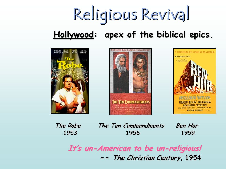 Religious Revival Hollywood: apex of the biblical epics.