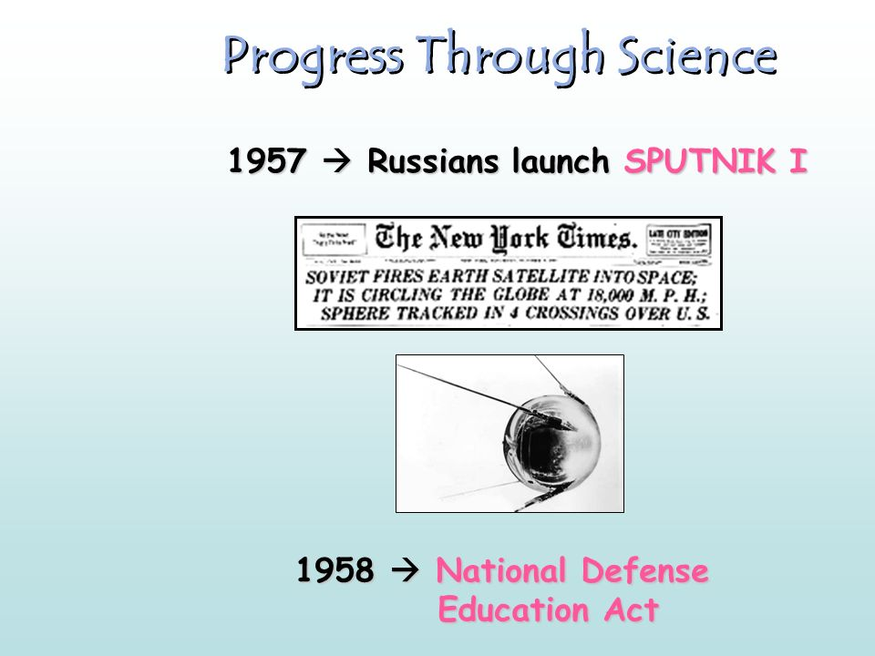 Progress Through Science 1957  Russians launch SPUTNIK I