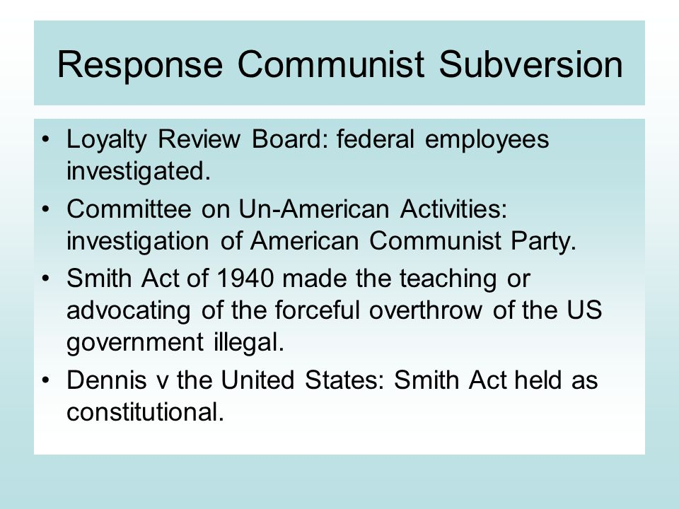 Response Communist Subversion