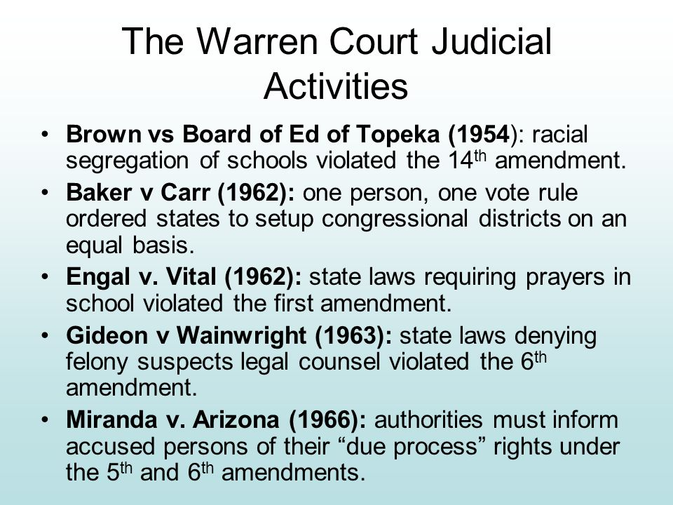 The Warren Court Judicial Activities