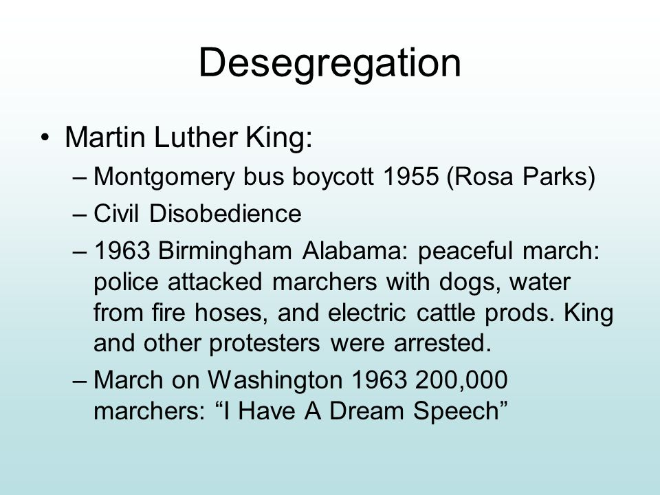 Desegregation Martin Luther King: