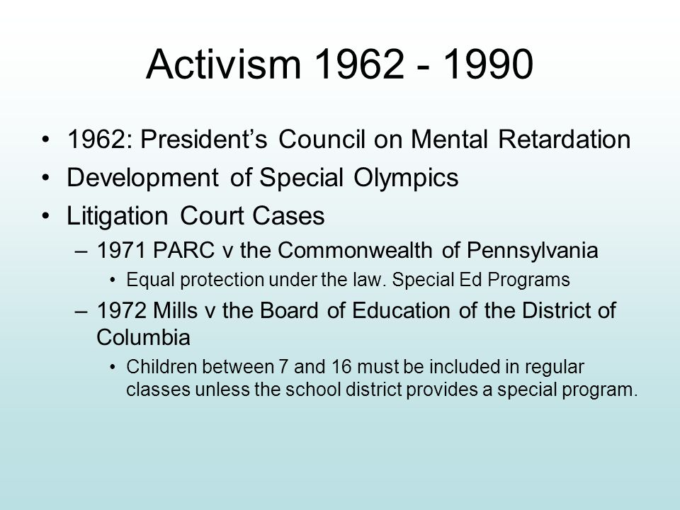 Activism 1962 - 1990 1962: President's Council on Mental Retardation