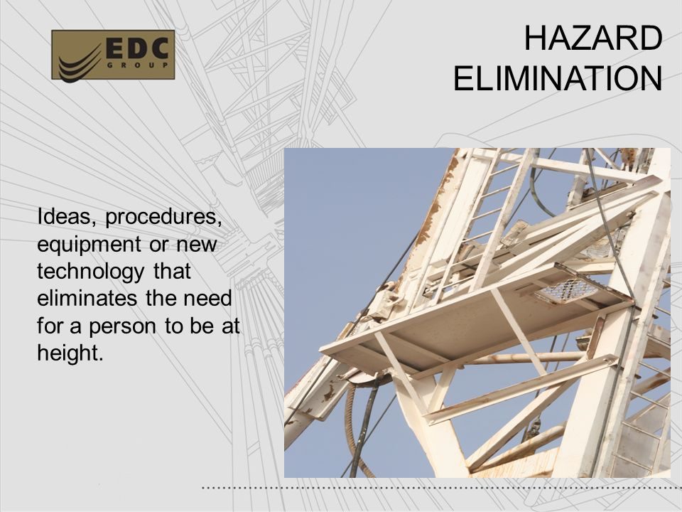 HAZARD ELIMINATION Ideas, procedures,