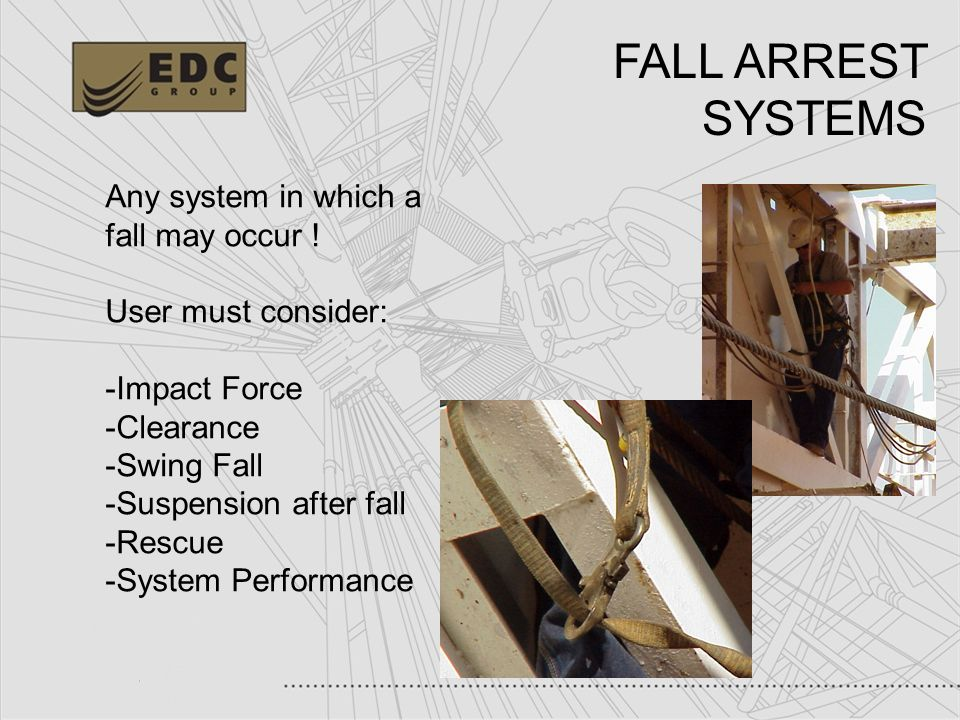 FALL ARREST SYSTEMS Any system in which a fall may occur !