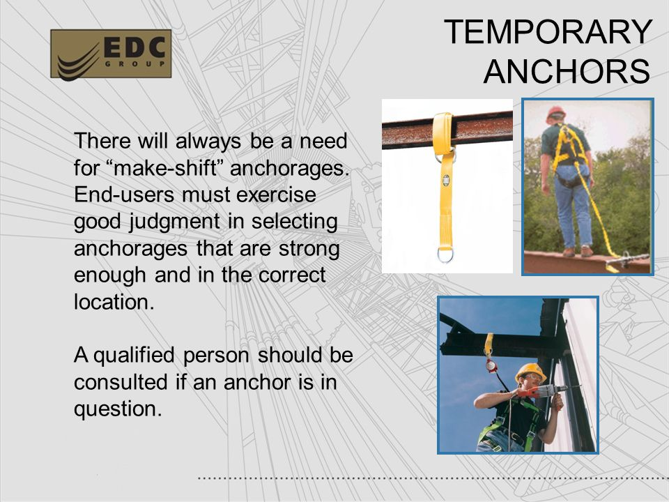 TEMPORARY ANCHORS There will always be a need for make-shift anchorages.