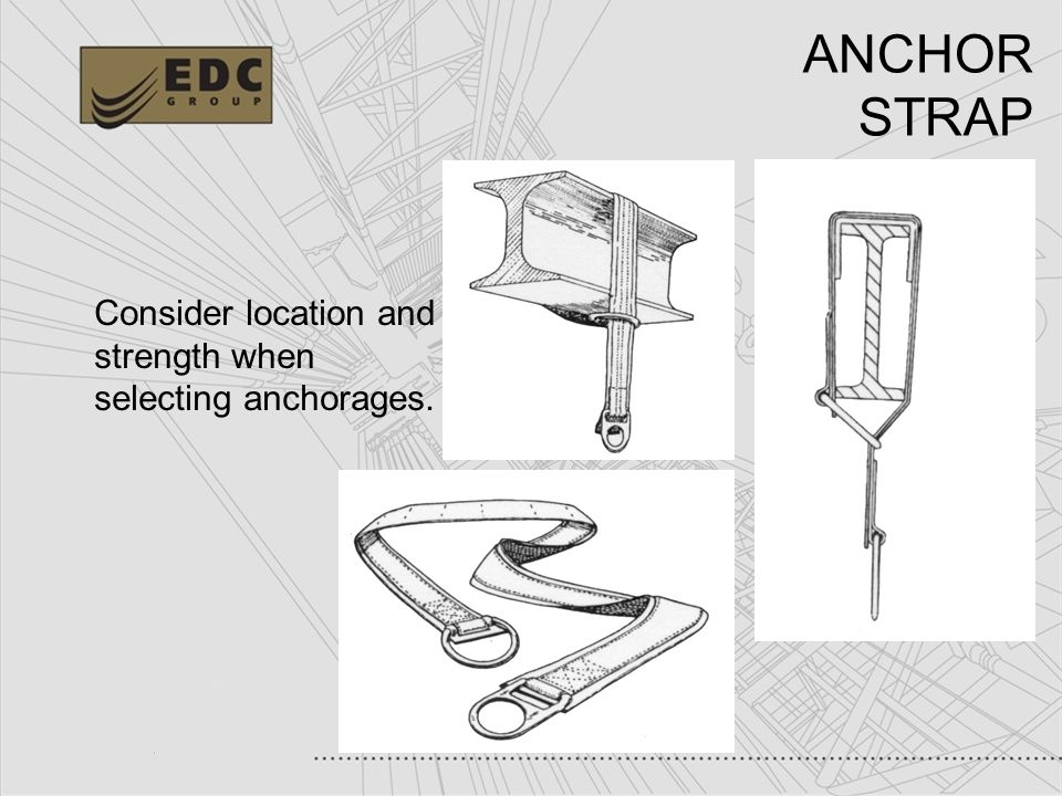 ANCHOR STRAP Consider location and strength when selecting anchorages.