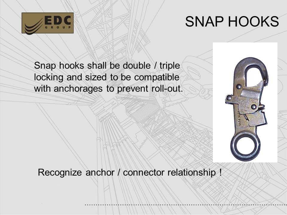 SNAP HOOKS Snap hooks shall be double / triple locking and sized to be compatible with anchorages to prevent roll-out.