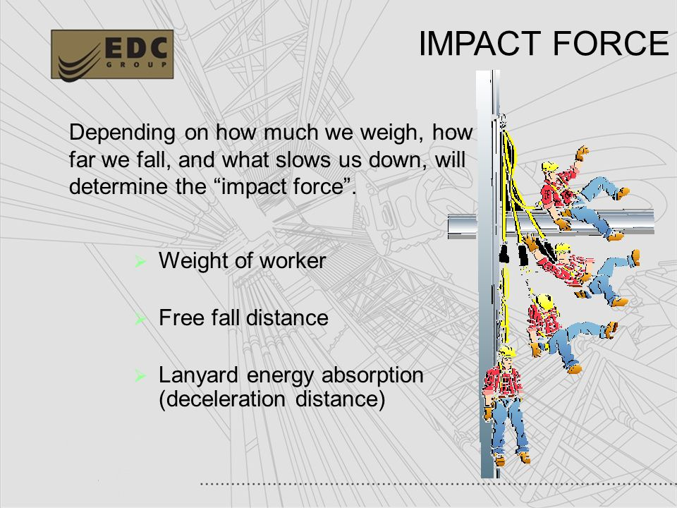 IMPACT FORCE Depending on how much we weigh, how far we fall, and what slows us down, will determine the impact force .