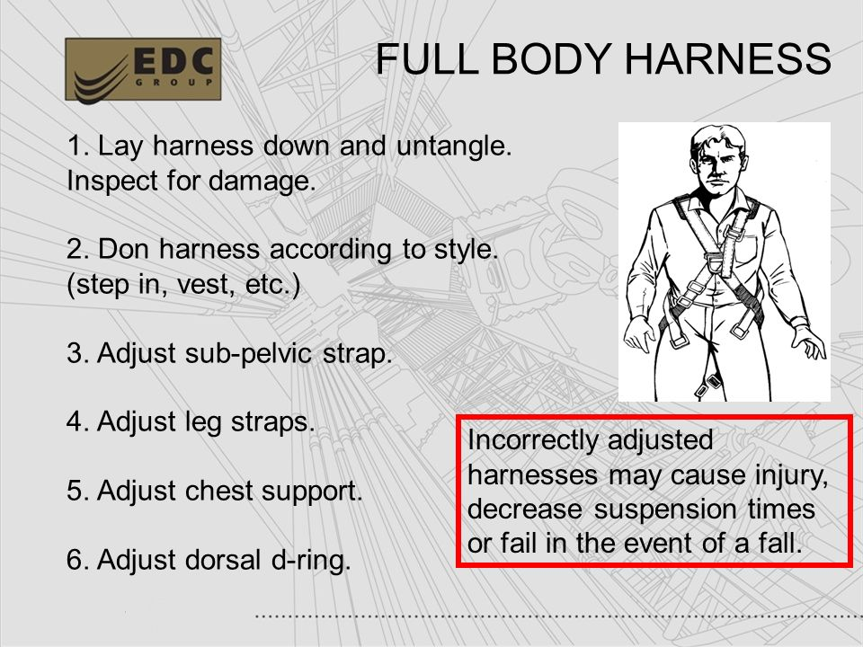 FULL BODY HARNESS 1. Lay harness down and untangle. Inspect for damage. 2. Don harness according to style. (step in, vest, etc.)