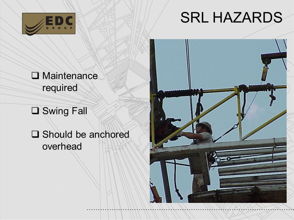 SRL HAZARDS Maintenance required Swing Fall