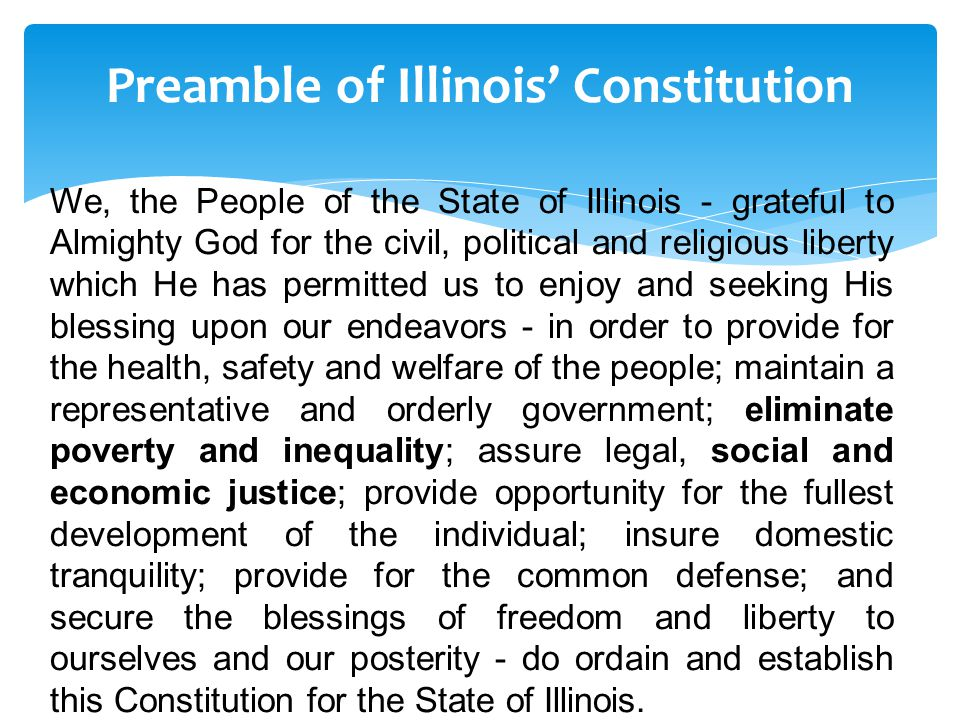 Preamble of Illinois' Constitution