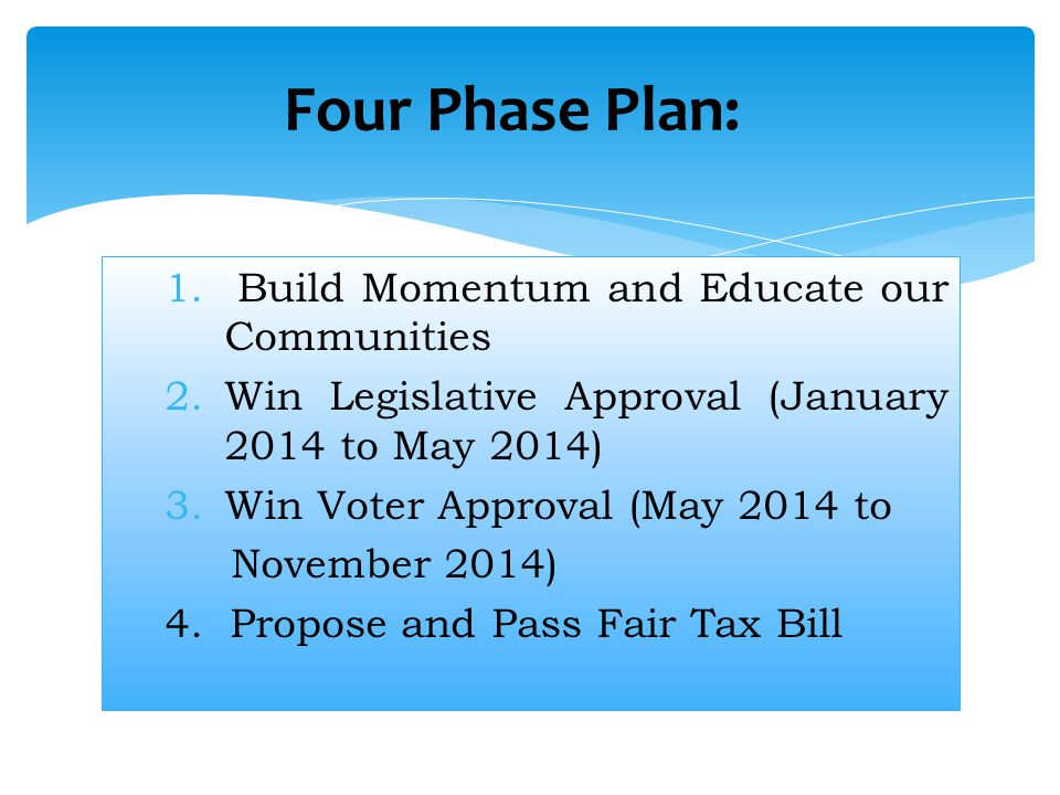 Four Phase Plan: Build Momentum and Educate our Communities