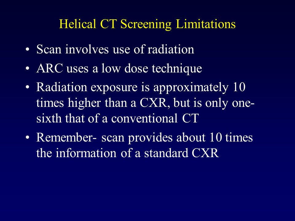 Helical CT Screening Limitations