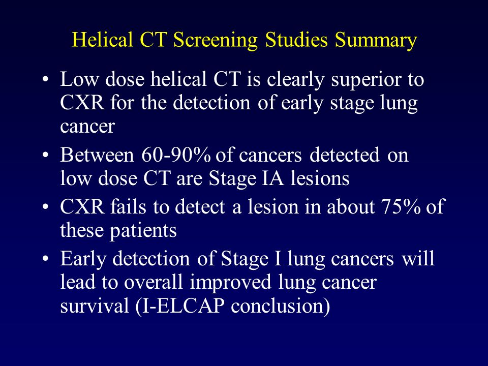 Helical CT Screening Studies Summary