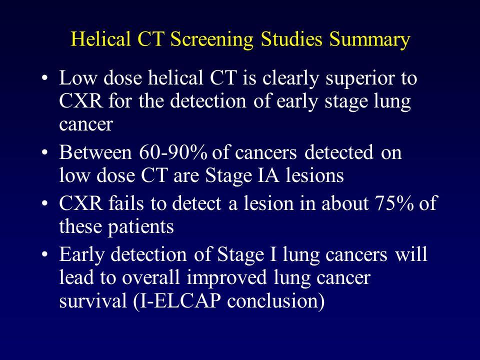 Helical CT Screening Studies Summary