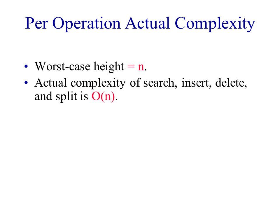 Per Operation Actual Complexity