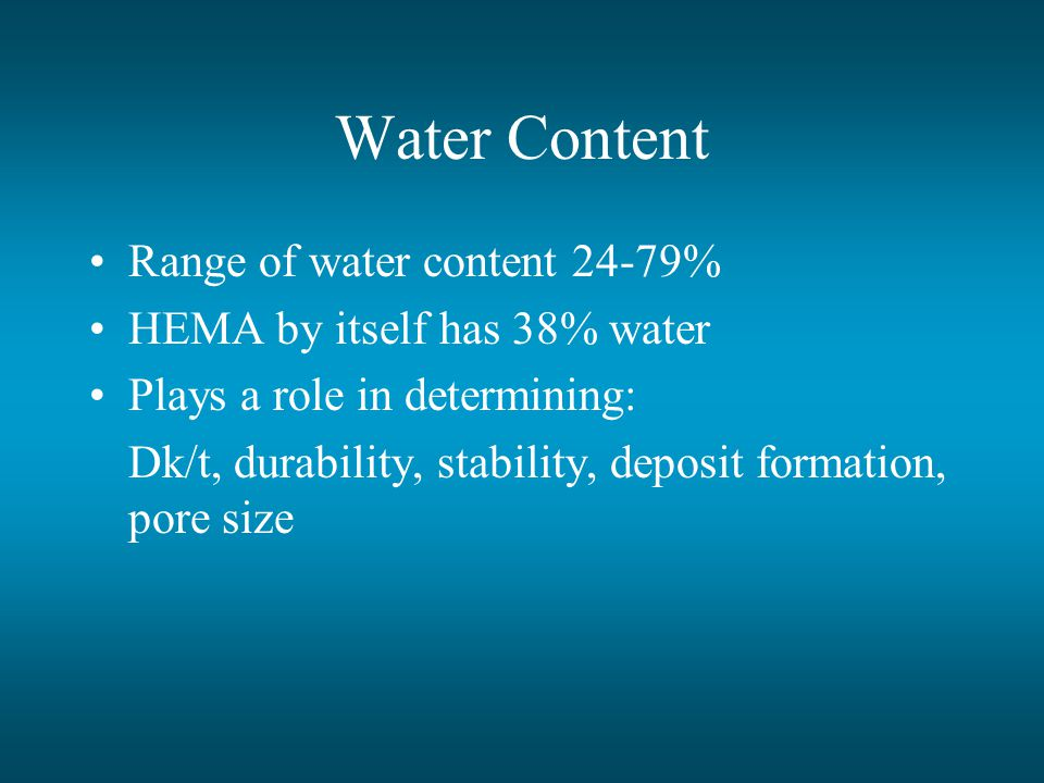Water Content Range of water content 24-79%