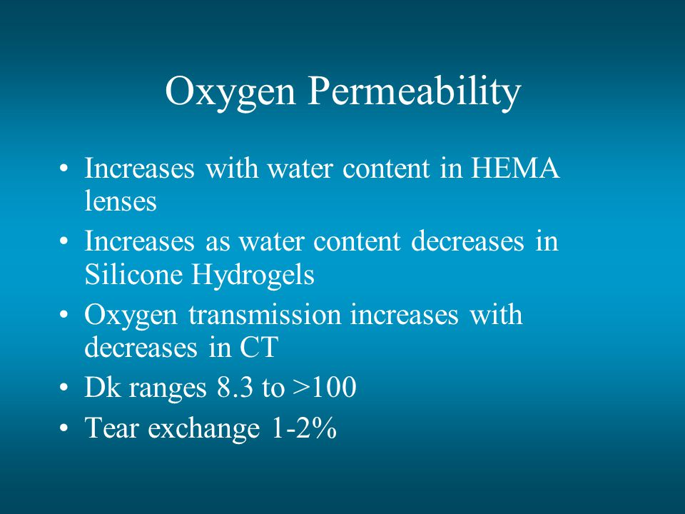 Oxygen Permeability Increases with water content in HEMA lenses