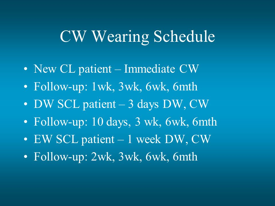 CW Wearing Schedule New CL patient – Immediate CW