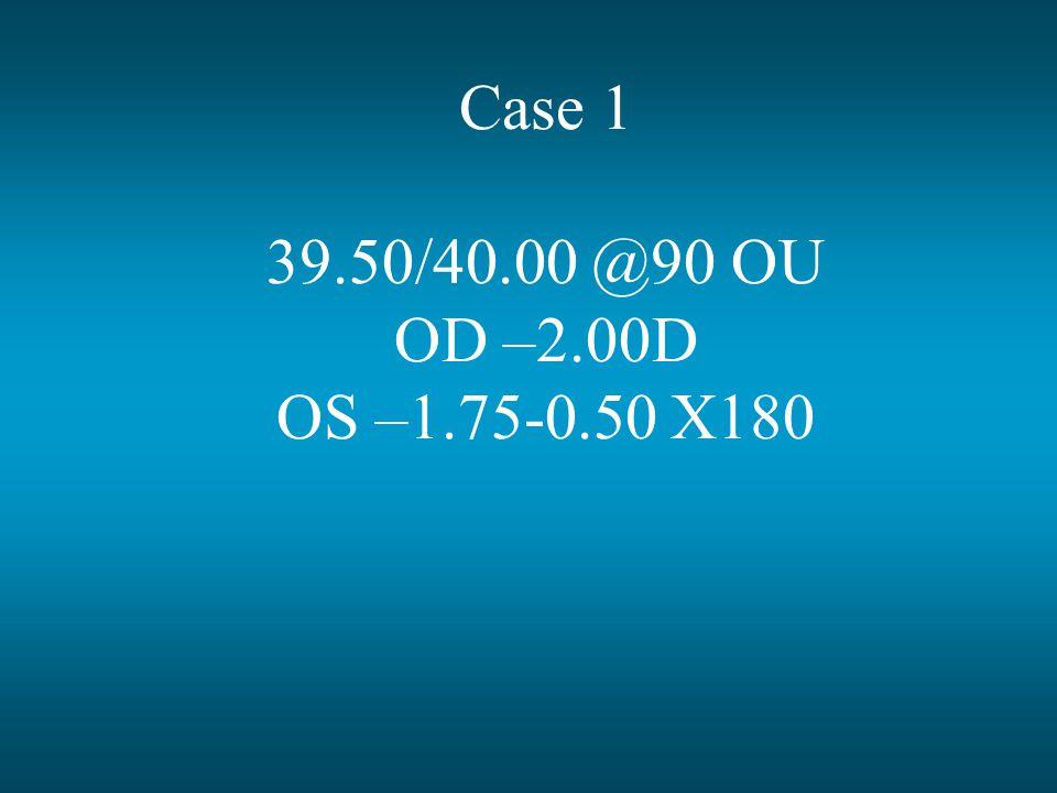 Case 1 39.50/40.00 @90 OU OD –2.00D OS –1.75-0.50 X180