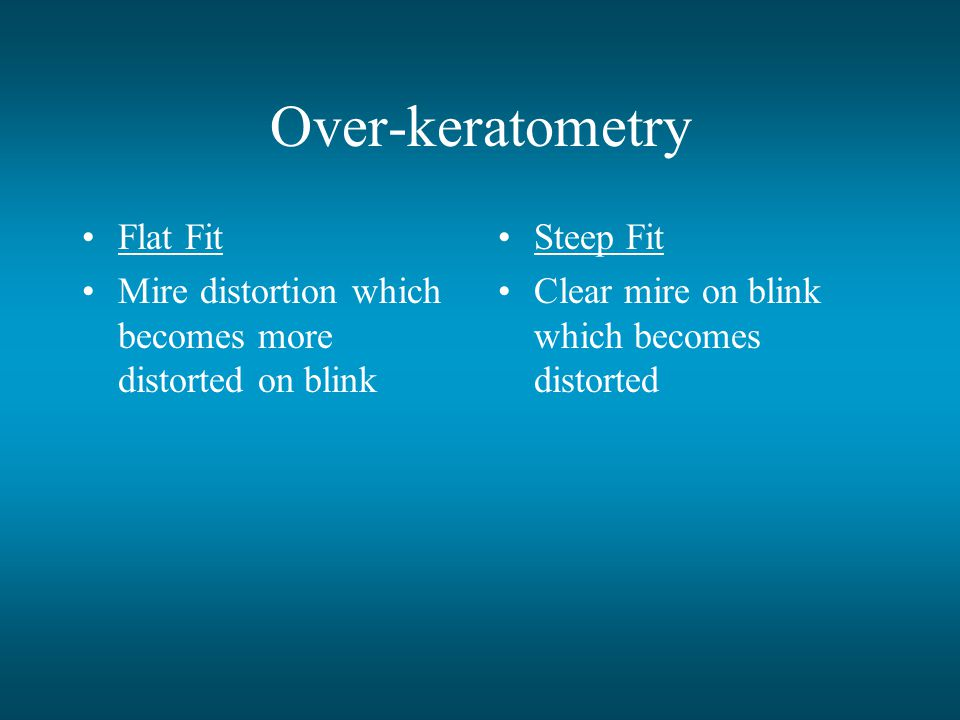 Over-keratometry Flat Fit