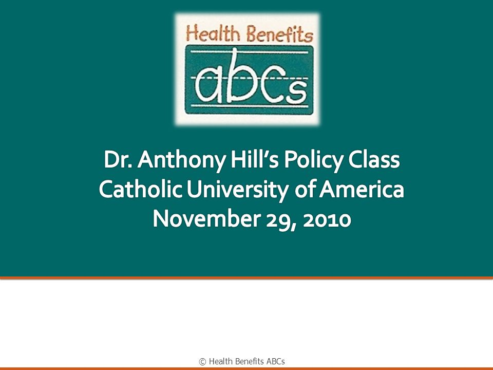 Dr. Anthony Hill's Policy Class Catholic University of America November 29, 2010