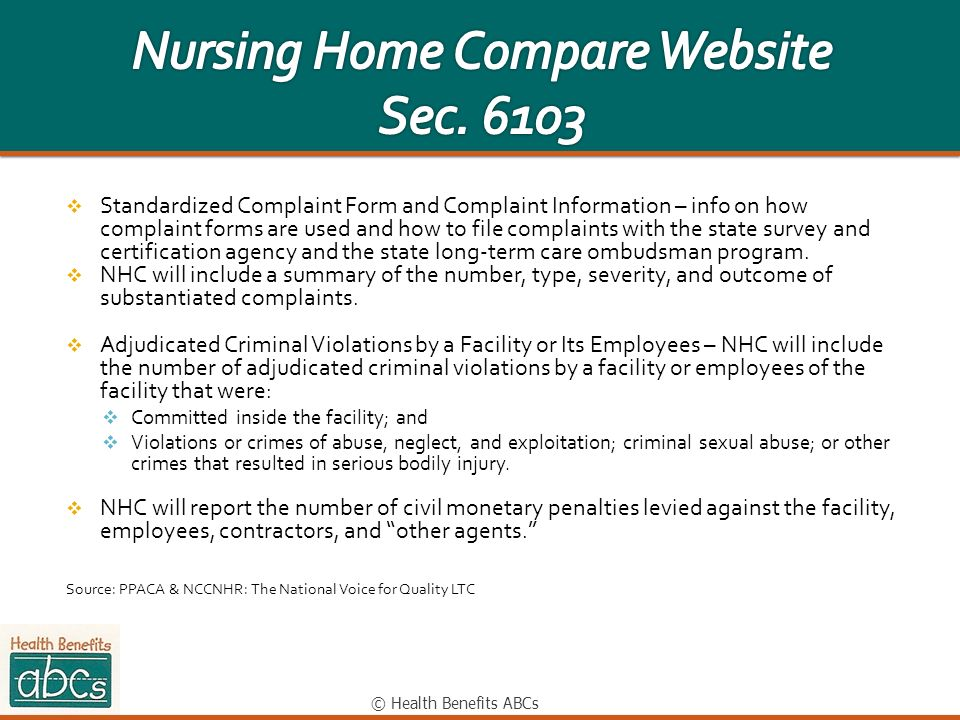 Nursing Home Compare Website Sec. 6103