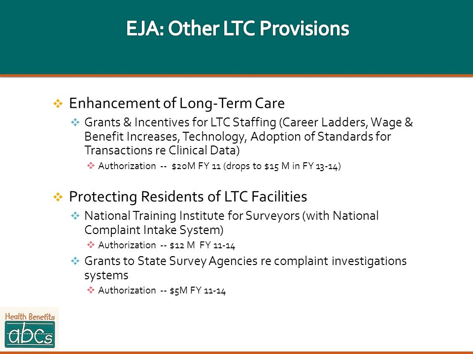 EJA: Other LTC Provisions