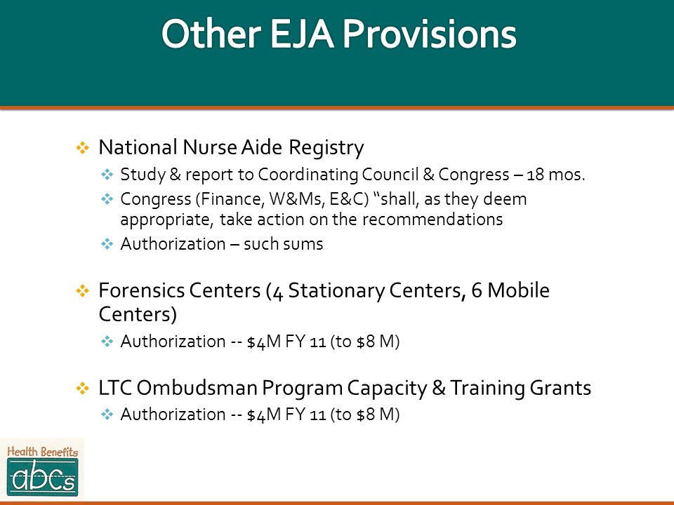 Other EJA Provisions National Nurse Aide Registry