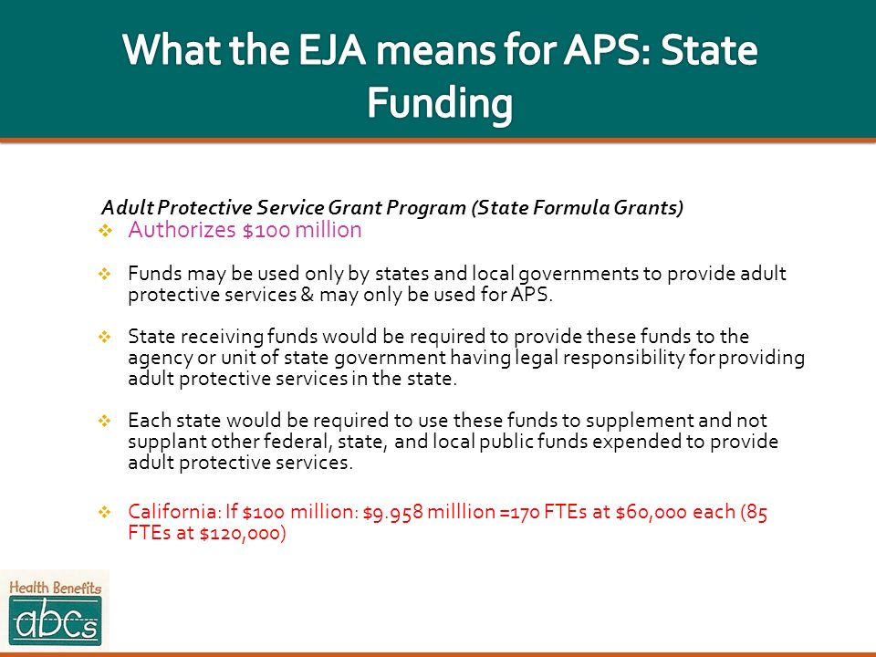 What the EJA means for APS: State Funding
