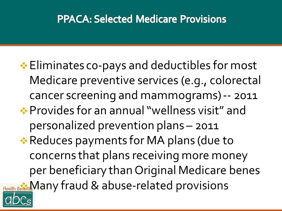 PPACA: Selected Medicare Provisions