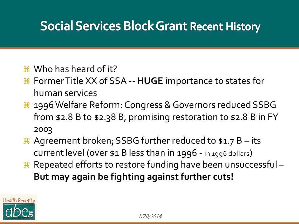 Social Services Block Grant Recent History