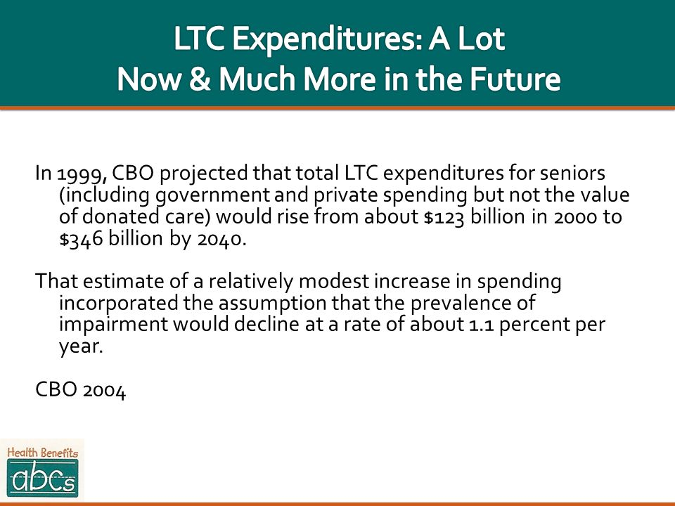 LTC Expenditures: A Lot Now & Much More in the Future