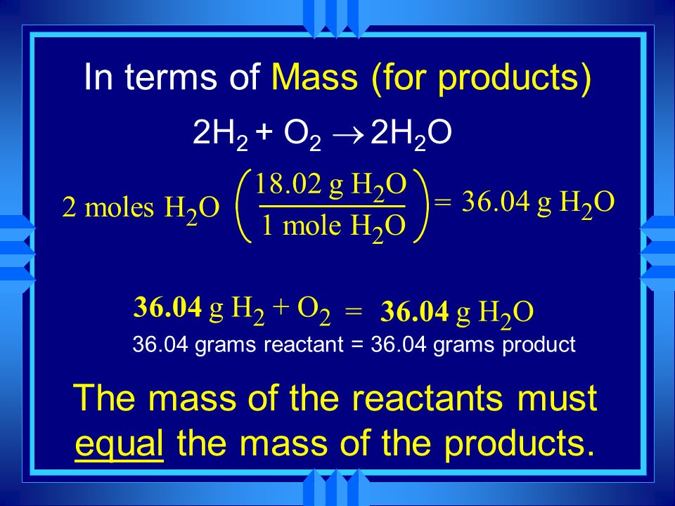 In terms of Mass (for products)