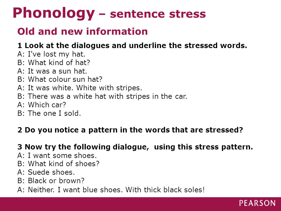 Phonology – sentence stress