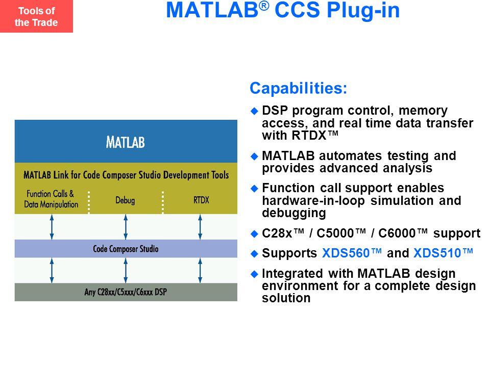 MATLAB® CCS Plug-in Capabilities: